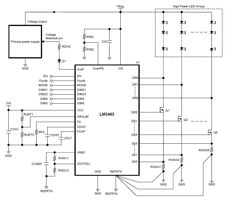 Типовая схема включения LM3463