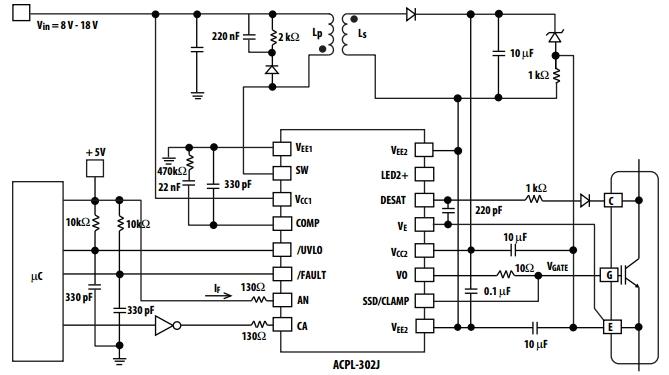 Типовая схема включения ACPL-