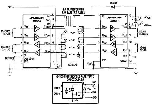 Схема подключения МАХ250/251