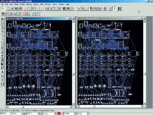 Пример загрузки в редактор плат P-CAD 2002 двух проектов, один из...