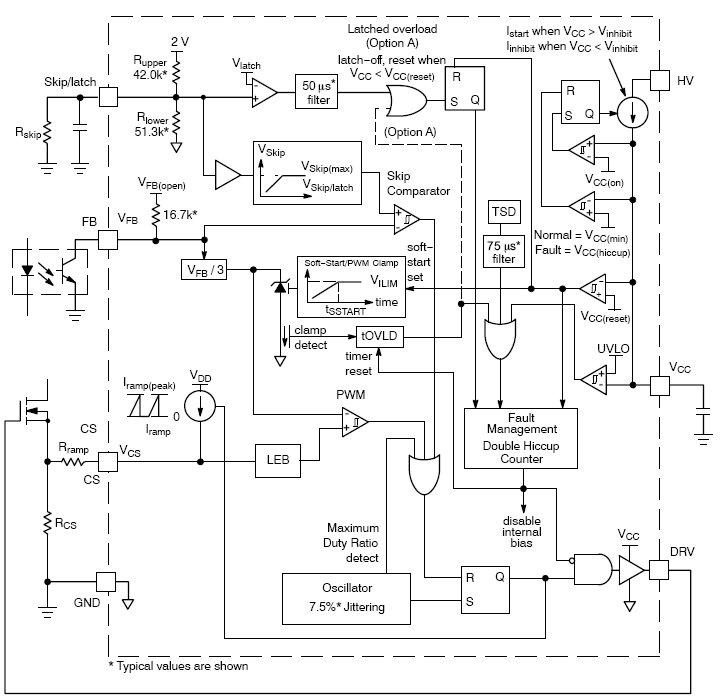 ...ШИМ-контроллер с динамическим источником питания и интегрированным высоковольтным пусковым полевым транзистором.