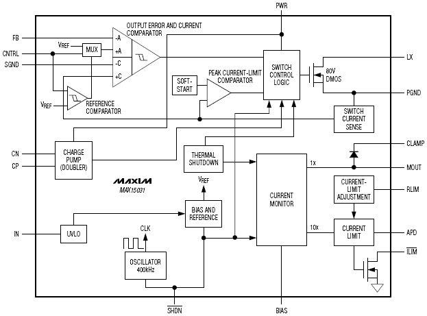 Компактный повышающий преобразователь (80в, 300мвт) со встроенной схемой контроля тока Особенности.