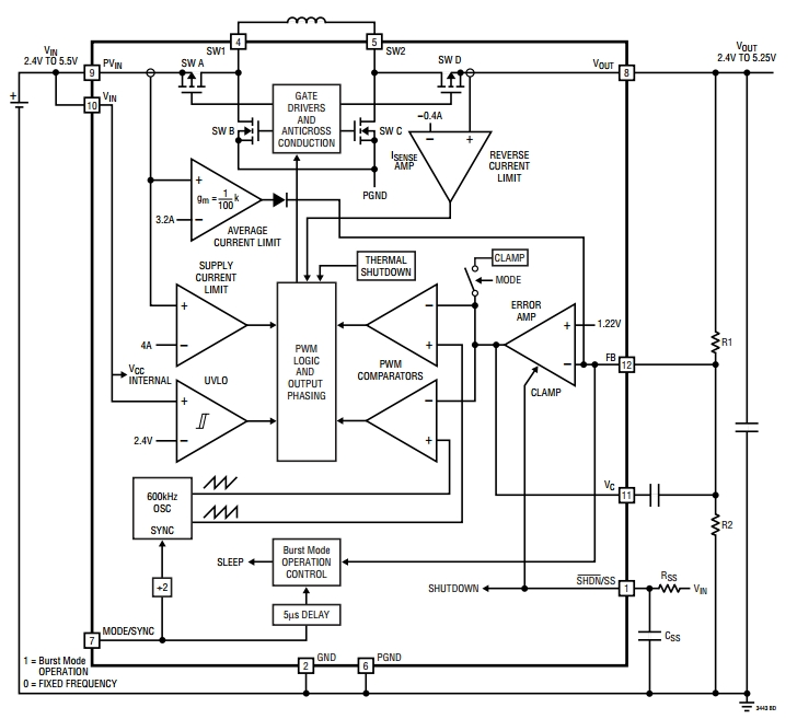 LTC3443, Микромощный синхронный повышающе-понижающий DC/DC преобразователь с фиксированной частотой 600 кГц.