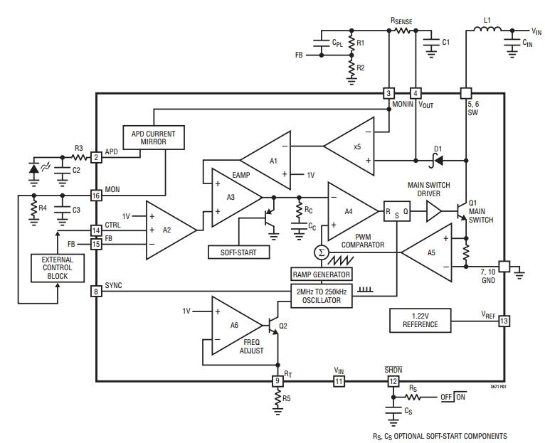 ...преобразователь с выходным напряжением до 75 В, схема мониторинга тока смещения лавинного фотодиода (APD) .