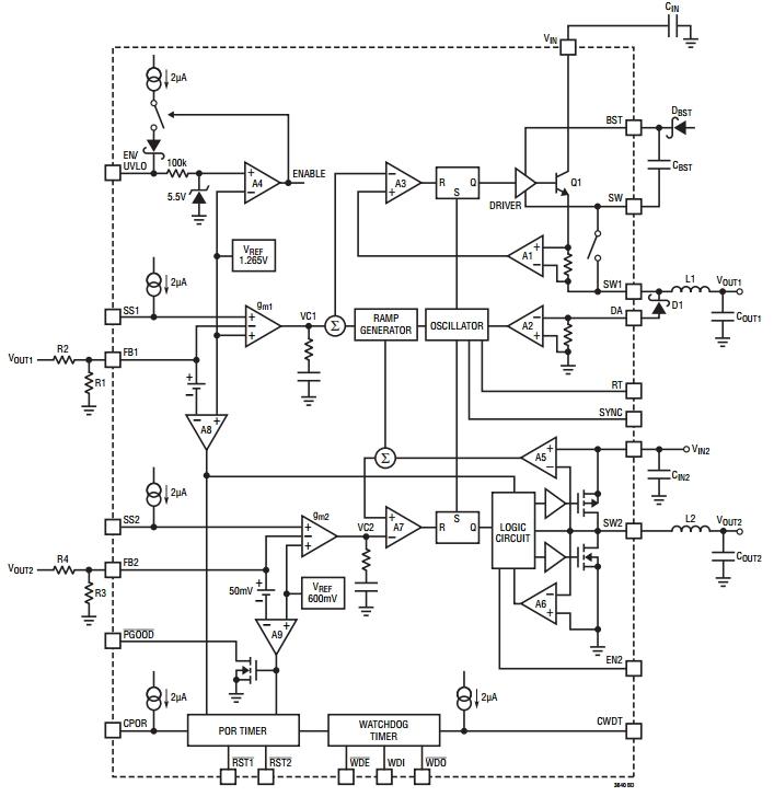 LT3640, Двухканальный понижающий преобразователь напряжения с функцией сброса при включении питания и сторожевым...