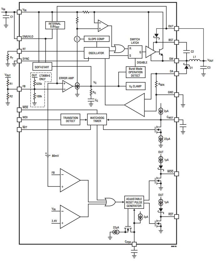 LT3689-5, Понижающий преобразователь напряжения с функцией сброса при включении питания и сторожевым таймером.