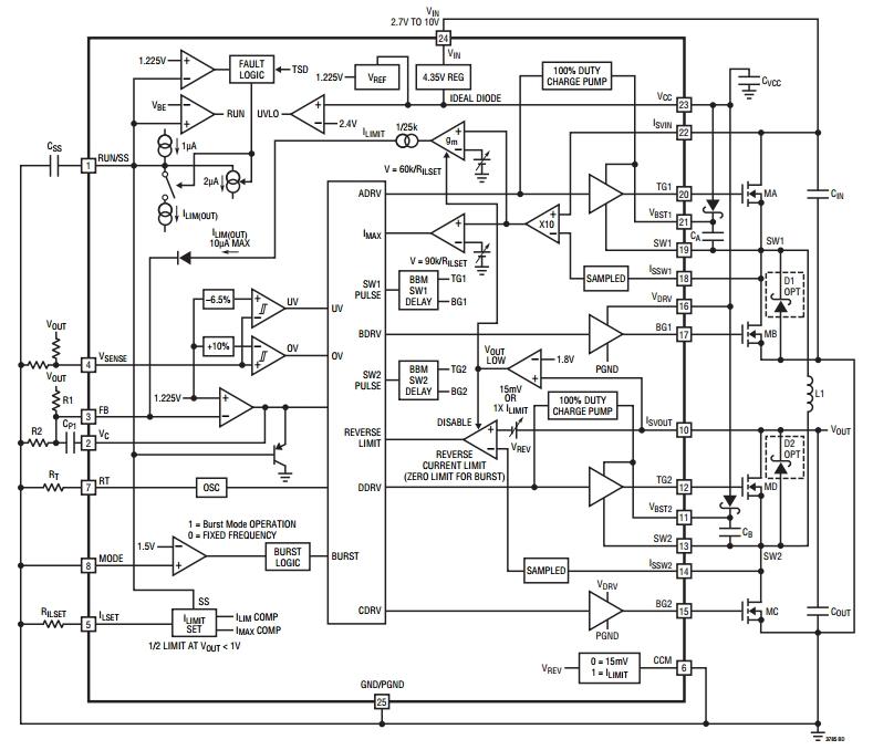LTC3785, Высокоэффективный синхронный повышающе-понижающий DC/DC преобразователь на 10 В, не требующий...