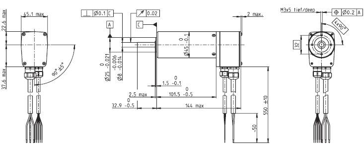 EC45 136211, Бесколлекторный двигатель постоянного тока серии EC 45, диаметр 45 мм, мощность 250В.