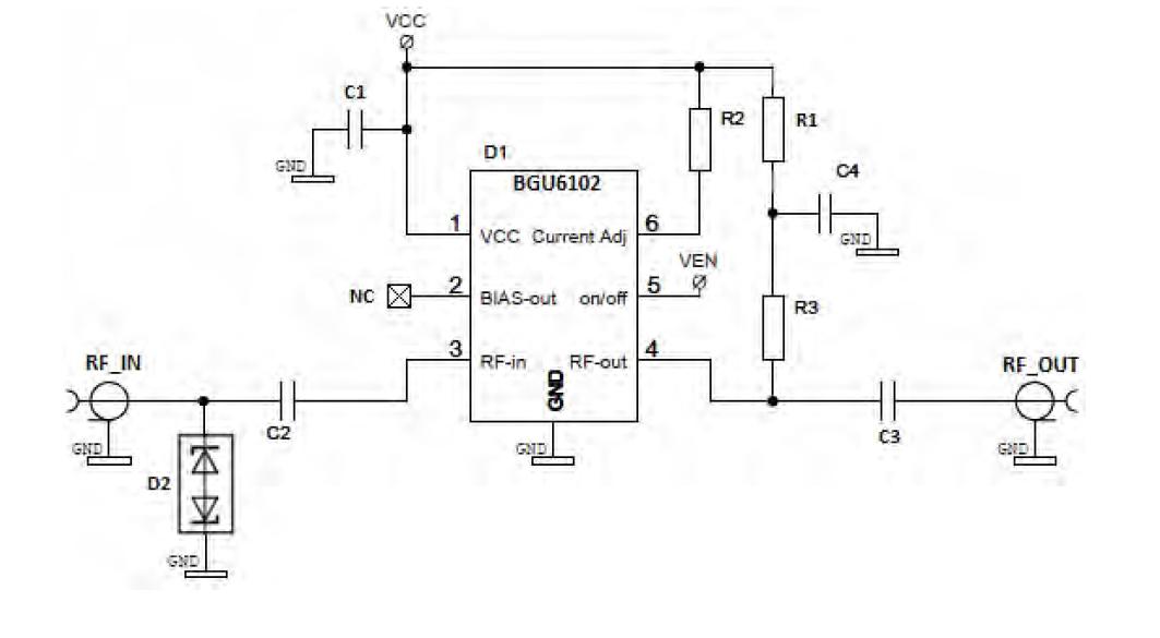 BGU6102 представляет собой монолитный малошумящий широкополосный усилитель (LNA) общего назначения для применения в...