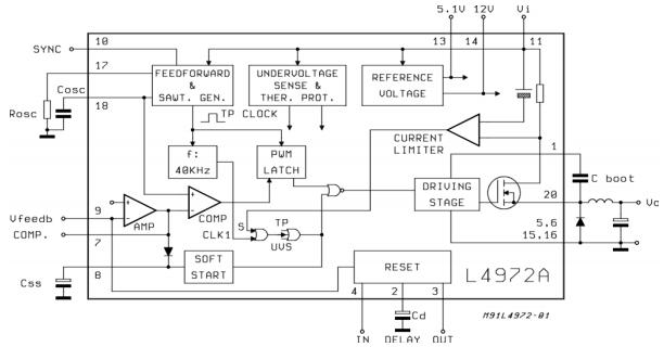 L4972, Понижающий преобразователь напряжения на 2 А.
