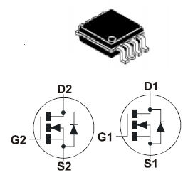 ZXMD63N02X, DUAL 20V N-CHANNEL ENHANCEMENT MODE MOSFET